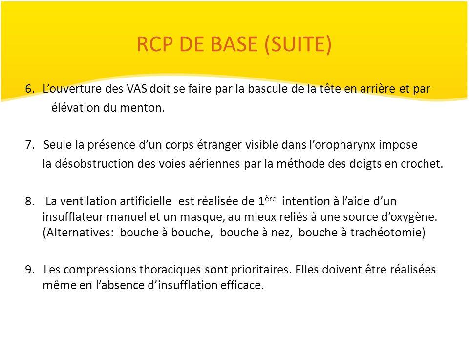 RCP DE BASE (SUITE) 6.Louverture des VAS doit se faire par la bascule de la tête en arrière et par élévation du menton. 7. Seule la présence dun corps