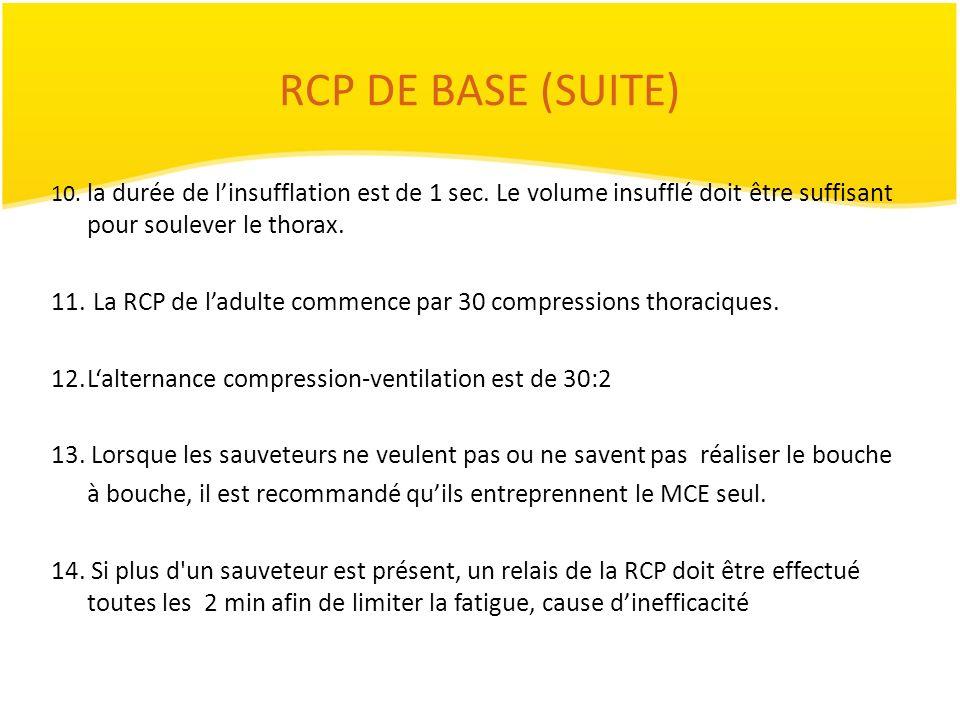 RCP DE BASE (SUITE) 10. la durée de linsufflation est de 1 sec. Le volume insufflé doit être suffisant pour soulever le thorax. 11. La RCP de ladulte
