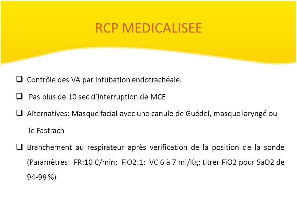 RCP MEDICALISEE Contrôle des VA par intubation endotrachéale. Pas plus de 10 sec dinterruption de MCE Alternatives: Masque facial avec une canule de G