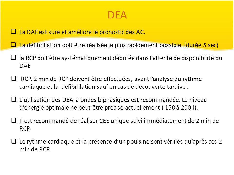 DEA La DAE est sure et améliore le pronostic des AC. La défibrillation doit être réalisée le plus rapidement possible. (durée 5 sec) la RCP doit être