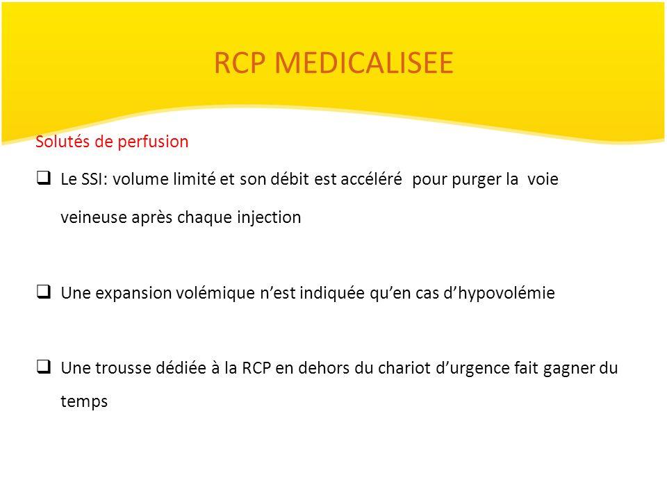 RCP MEDICALISEE Solutés de perfusion Le SSI: volume limité et son débit est accéléré pour purger la voie veineuse après chaque injection Une expansion
