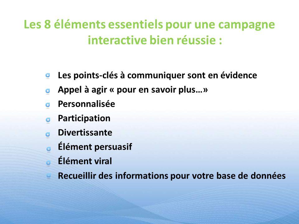 Les 8 éléments essentiels pour une campagne interactive bien réussie : Les points-clés à communiquer sont en évidence Appel à agir « pour en savoir pl