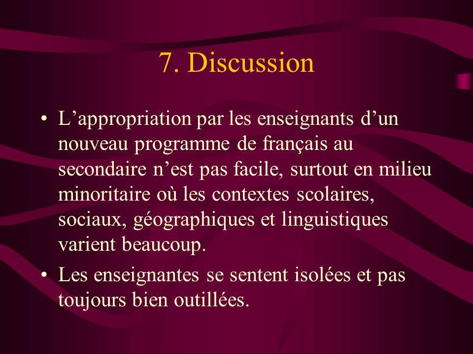 7. Discussion Lappropriation par les enseignants dun nouveau programme de français au secondaire nest pas facile, surtout en milieu minoritaire où les