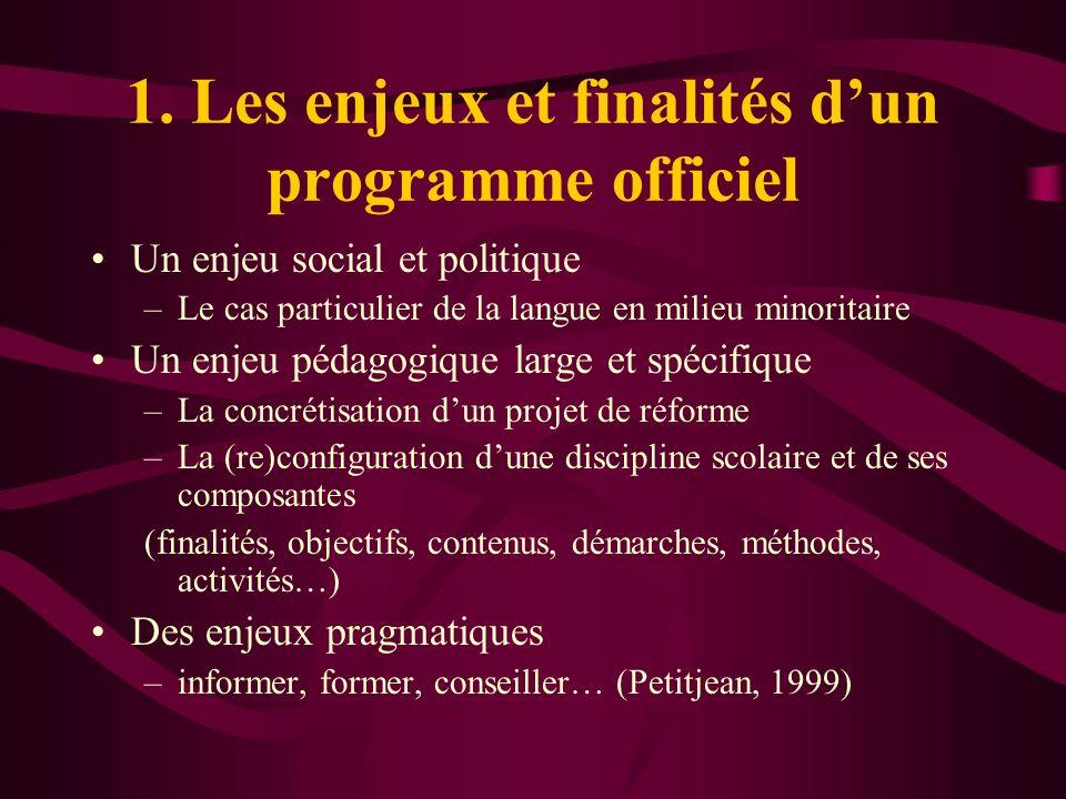 1. Les enjeux et finalités dun programme officiel Un enjeu social et politique –Le cas particulier de la langue en milieu minoritaire Un enjeu pédagog