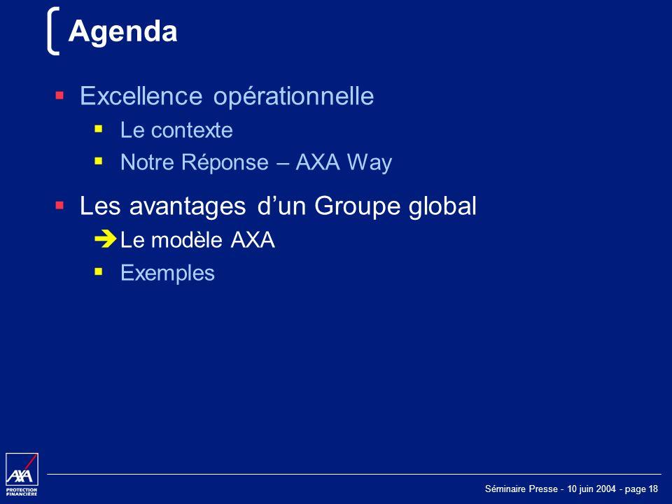 Séminaire Presse - 10 juin 2004 - page 18 Agenda Excellence opérationnelle Le contexte Notre Réponse – AXA Way Les avantages dun Groupe global Le modèle AXA Exemples