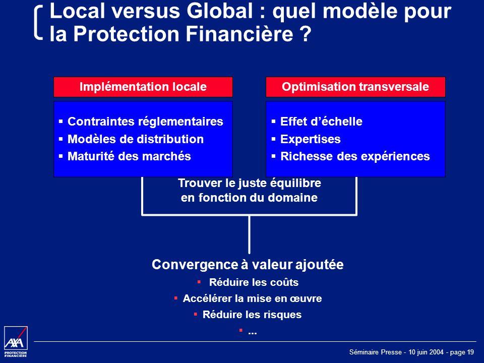 Séminaire Presse - 10 juin 2004 - page 19 Local versus Global : quel modèle pour la Protection Financière .