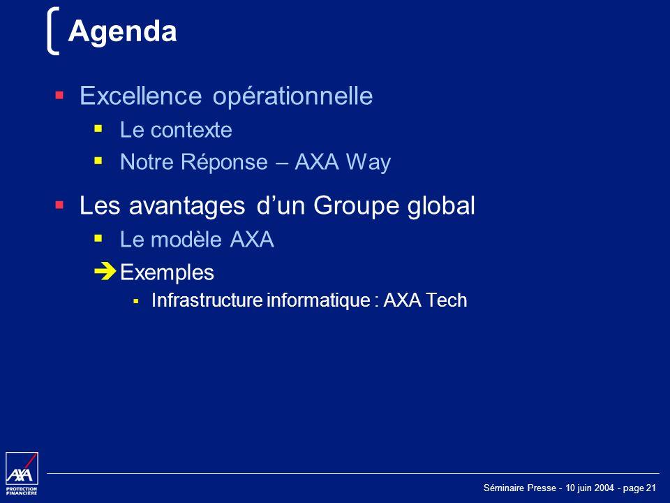 Séminaire Presse - 10 juin 2004 - page 21 Agenda Excellence opérationnelle Le contexte Notre Réponse – AXA Way Les avantages dun Groupe global Le modèle AXA Exemples Infrastructure informatique : AXA Tech