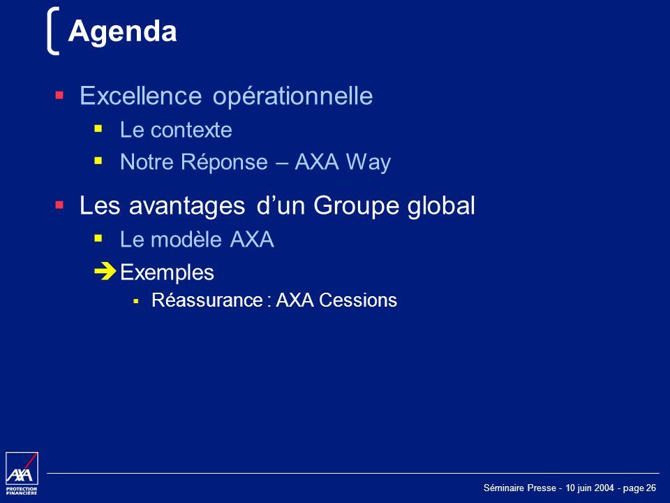 Séminaire Presse - 10 juin 2004 - page 26 Agenda Excellence opérationnelle Le contexte Notre Réponse – AXA Way Les avantages dun Groupe global Le modèle AXA Exemples Réassurance : AXA Cessions