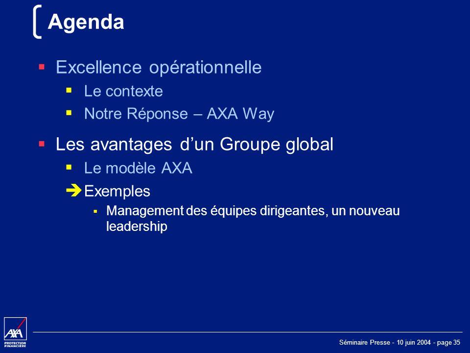 Séminaire Presse - 10 juin 2004 - page 35 Agenda Excellence opérationnelle Le contexte Notre Réponse – AXA Way Les avantages dun Groupe global Le modèle AXA Exemples Management des équipes dirigeantes, un nouveau leadership