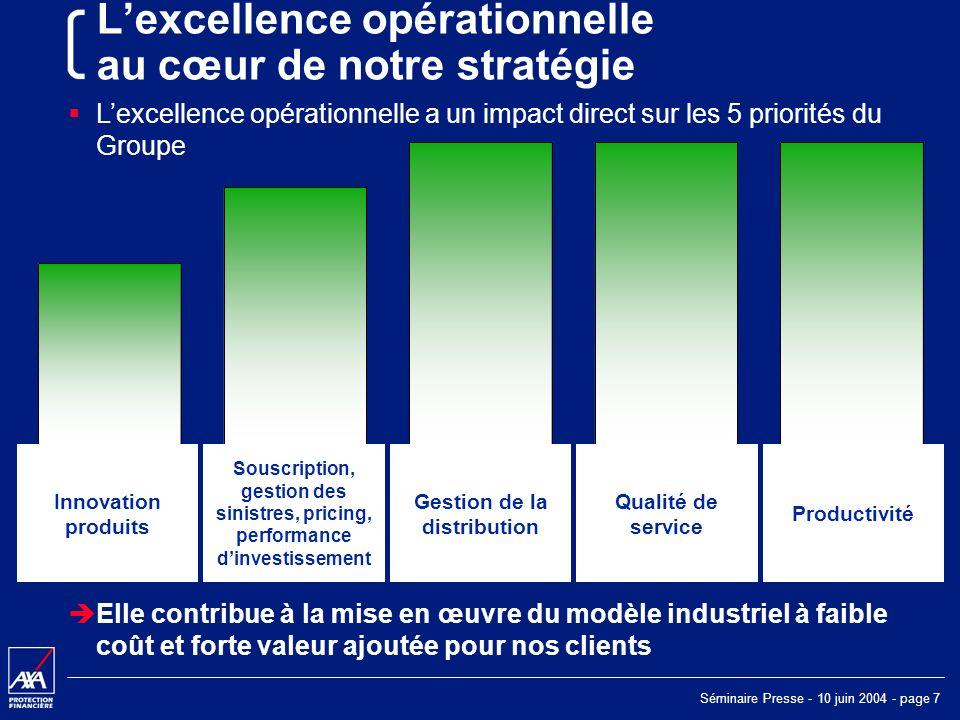 Séminaire Presse - 10 juin 2004 - page 8 Agenda Excellence opérationnelle Le contexte Notre Réponse – AXA Way Les avantages dun Groupe global Le modèle AXA Exemples