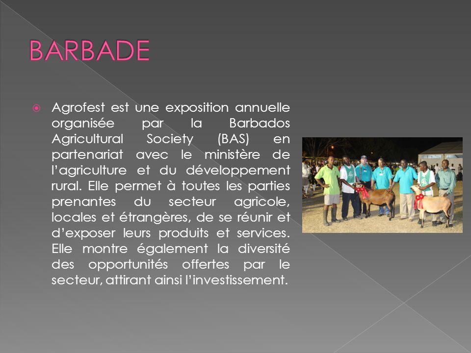 Agrofest est une exposition annuelle organisée par la Barbados Agricultural Society (BAS) en partenariat avec le ministère de lagriculture et du développement rural.