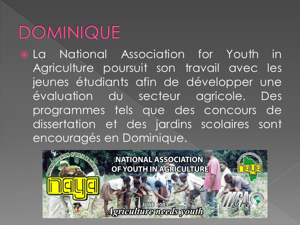 La National Association for Youth in Agriculture poursuit son travail avec les jeunes étudiants afin de développer une évaluation du secteur agricole.
