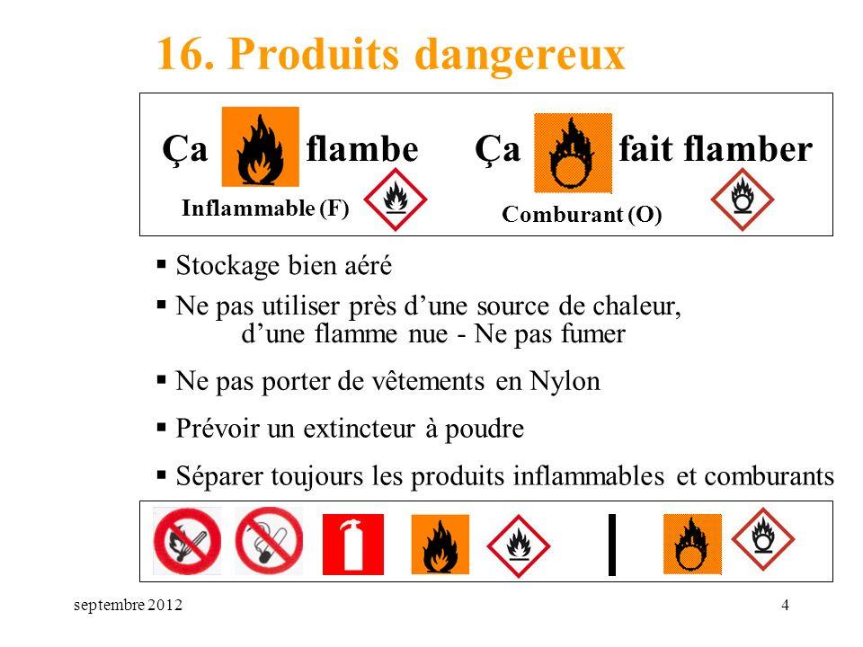 septembre 20124 16. Produits dangereux Stockage bien aéré Inflammable (F) Comburant (O) Ça flambeÇa fait flamber Ne pas utiliser près dune source de c