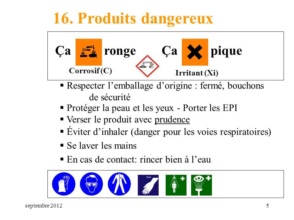 septembre 20125 16. Produits dangereux Respecter lemballage dorigine : fermé, bouchons de sécurité Corrosif (C) Irritant (Xi) Ça rongeÇa pique Protége