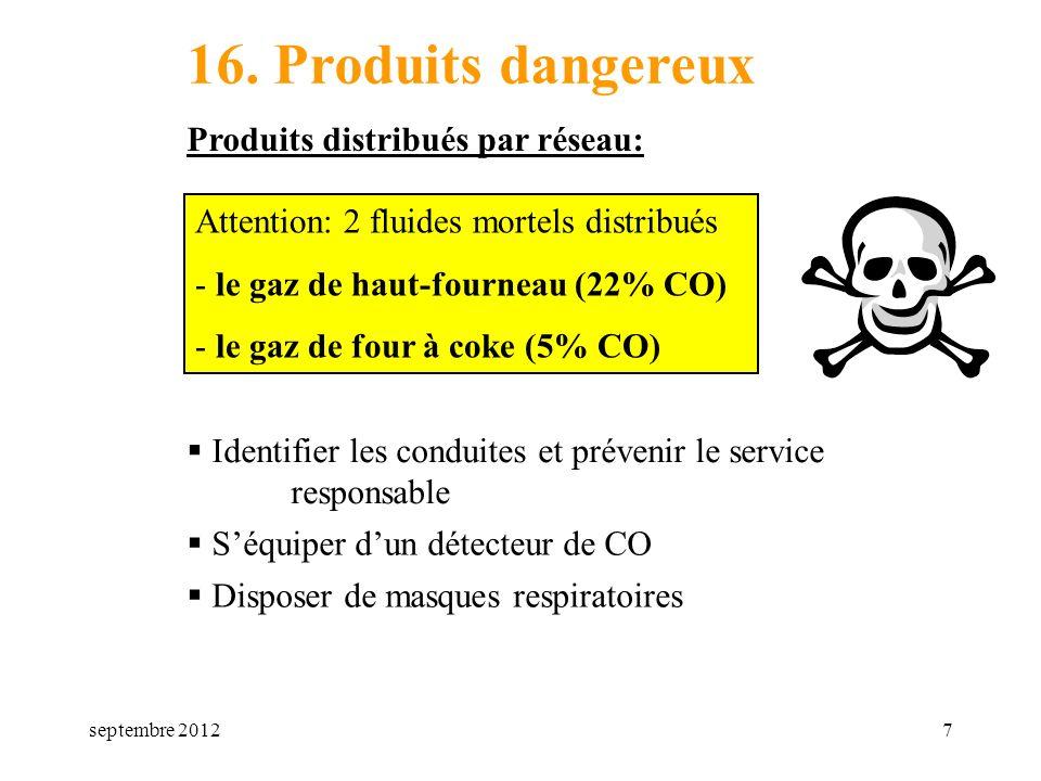 septembre 20127 16. Produits dangereux Produits distribués par réseau: Attention: 2 fluides mortels distribués - le gaz de haut-fourneau (22% CO) - le