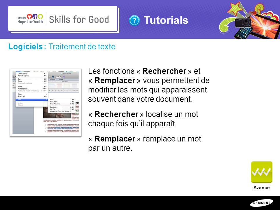 Copyright ©: 1995-2011 SAMSUNG & Samsung Hope for Youth. All rights reserved Tutorials Logiciels : Traitement de texte Les fonctions « Rechercher » et