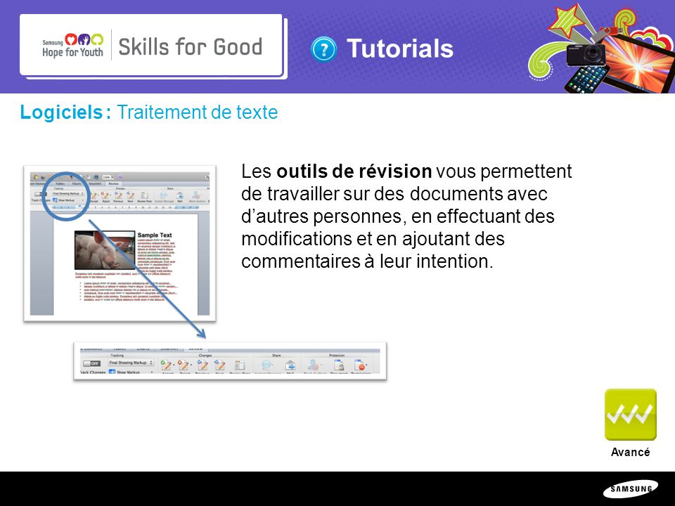 Copyright ©: 1995-2011 SAMSUNG & Samsung Hope for Youth. All rights reserved Tutorials Logiciels : Traitement de texte Les outils de révision vous per