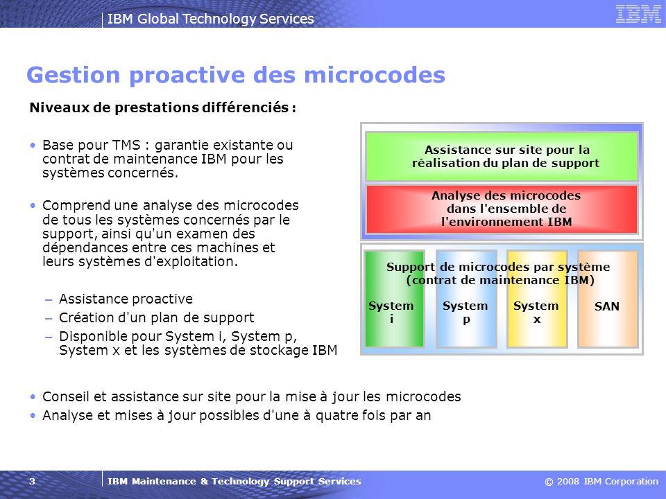 IBM Maintenance & Technology Support Services© 2008 IBM Corporation IBM Global Technology Services 3 Gestion proactive des microcodes Analyse des micr