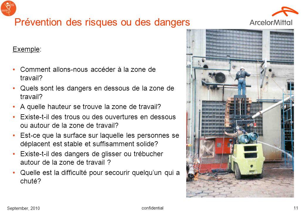 confidential September, 2010 10 Analyse des risques de chute Avant de trouver une solution – les risques doivent être évalués. Faire une évaluation de
