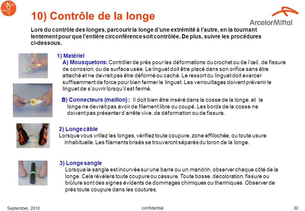 confidential September, 2010 29 6) Boucles à passants Contrôler la boucle pour toute déformation. Les parties extérieures et centrale doivent être dro
