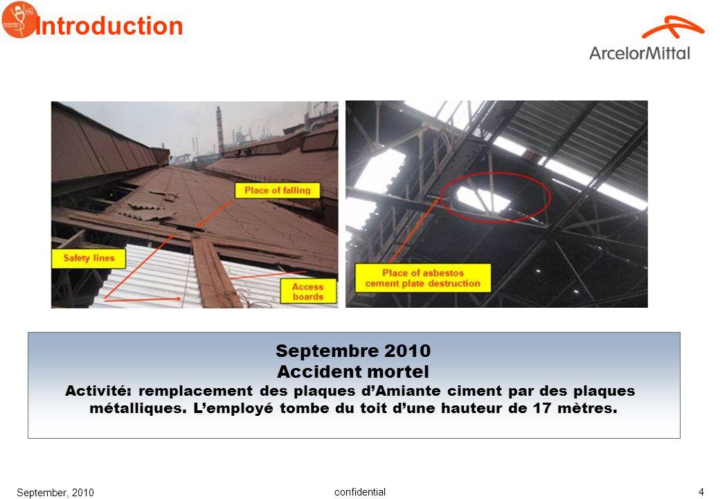 confidential September, 2010 3 Introduction Mai 2010 Accident Mortel Activité: installation dune pompe hydraulique supplémentaire sur le toit en béton