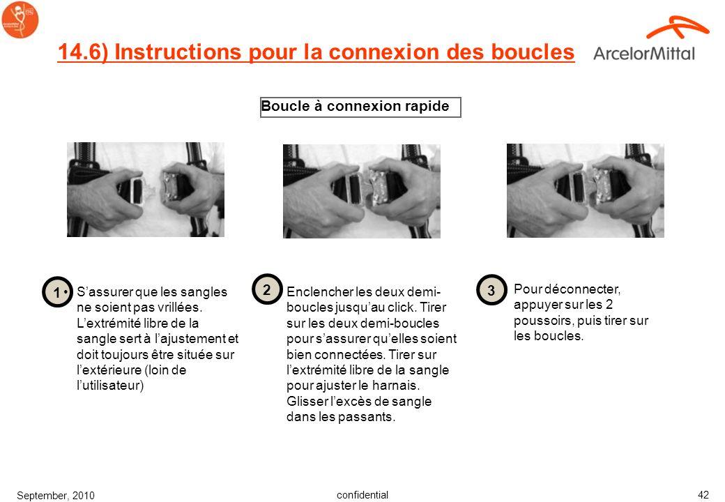 confidential September, 2010 41 14.5) Instructions pour la connexion des boucles Boucle à passant Sassurer que les sangles ne soient pas vrillées. Lex