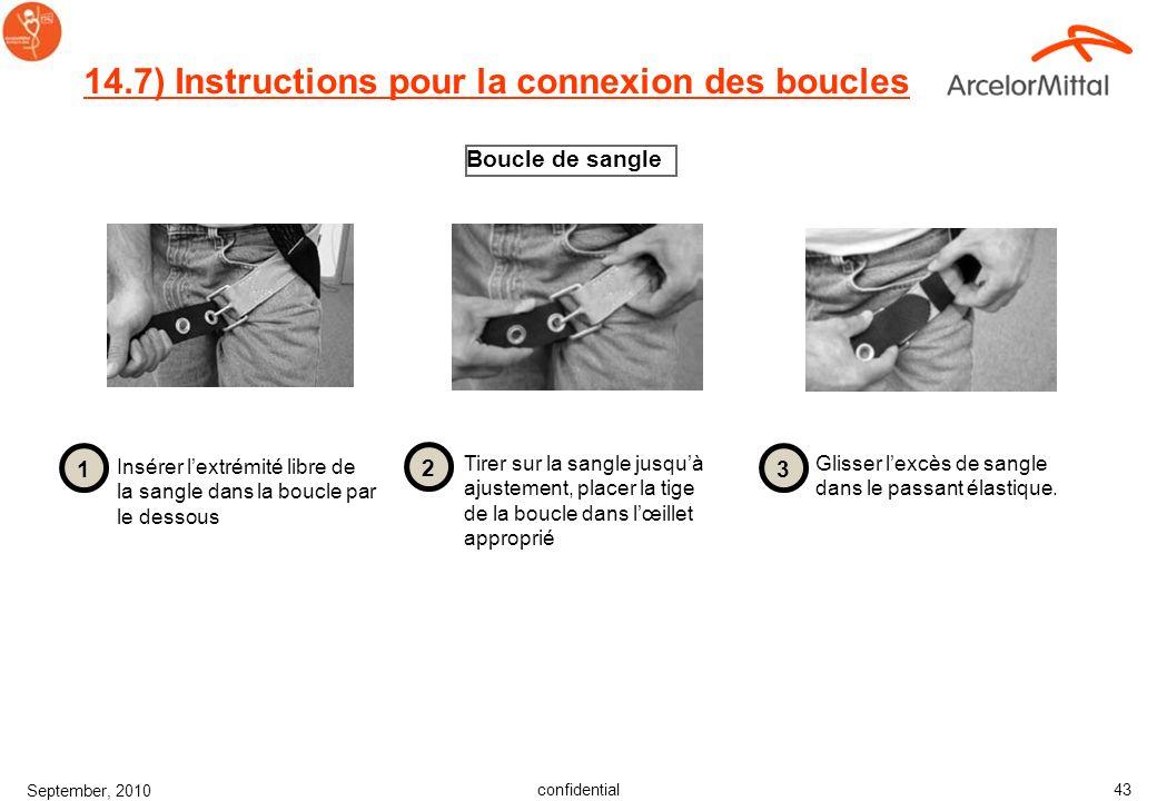 confidential September, 2010 42 14.6) Instructions pour la connexion des boucles Boucle à connexion rapide Enclencher les deux demi- boucles jusquau c