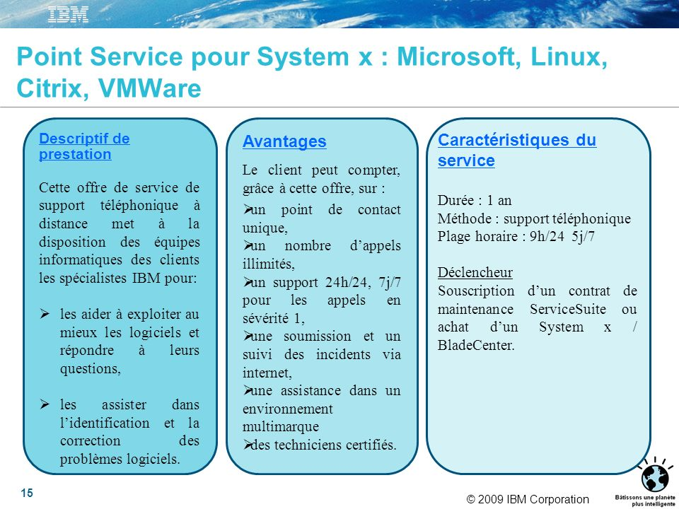 © 2009 IBM Corporation 15 Point Service pour System x : Microsoft, Linux, Citrix, VMWare Descriptif de prestation Cette offre de service de support té