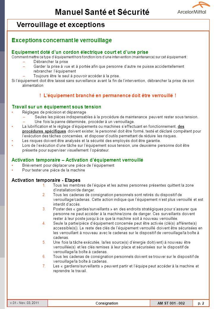 Manuel Santé et Sécurité AM ST 001 - 002 p. 2 v.01 - Nov. 03, 2011 Consignation Exceptions concernant le verrouillage Equipement doté dun cordon élect