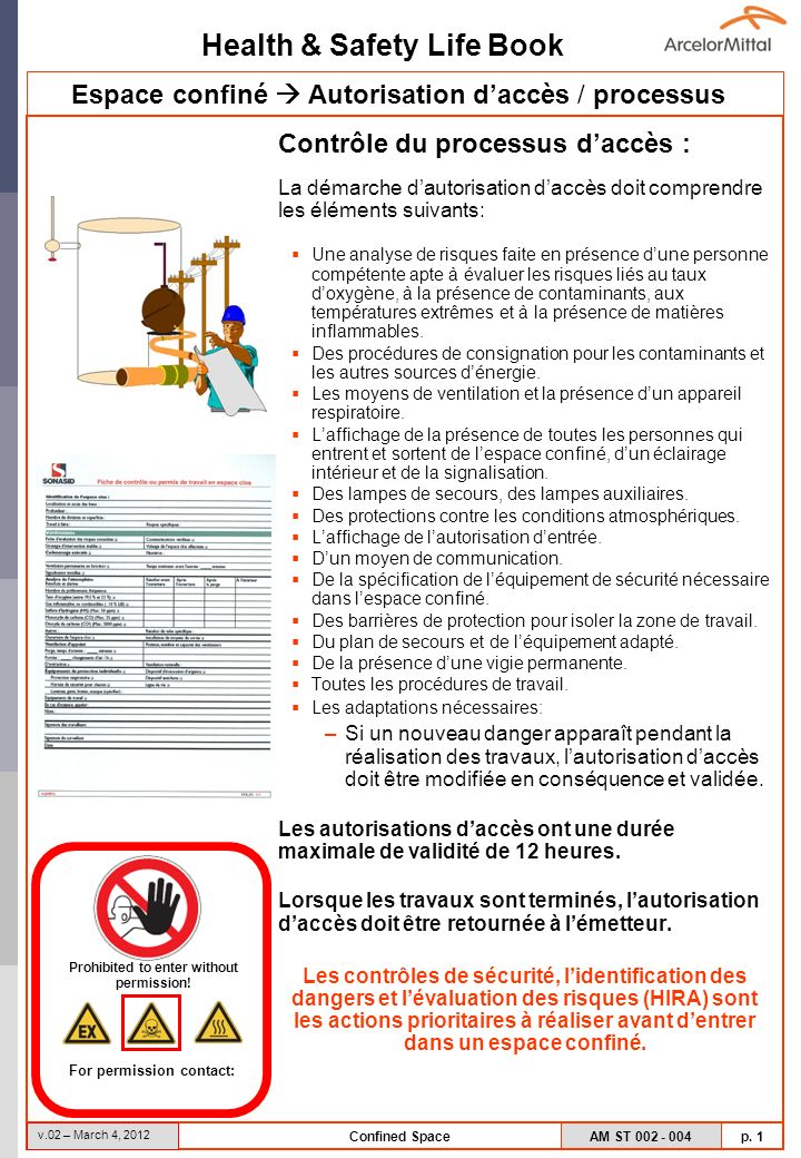 Health & Safety Life Book AM ST 002 - 004 p. 1 v.02 – March 4, 2012 Confined Space Contrôle du processus daccès : La démarche dautorisation daccès doi