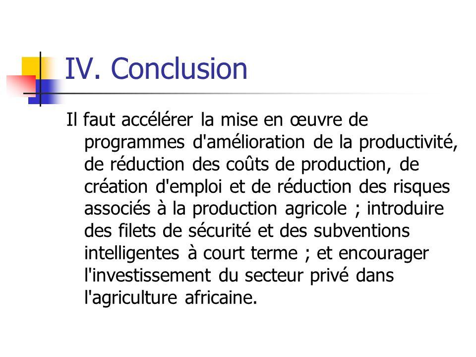 IV. Conclusion Il faut accélérer la mise en œuvre de programmes d'amélioration de la productivité, de réduction des coûts de production, de création d