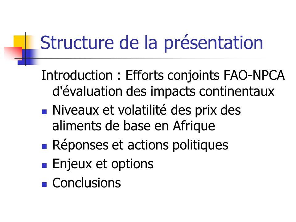 Structure de la présentation Introduction : Efforts conjoints FAO-NPCA d évaluation des impacts continentaux Niveaux et volatilité des prix des aliments de base en Afrique Réponses et actions politiques Enjeux et options Conclusions