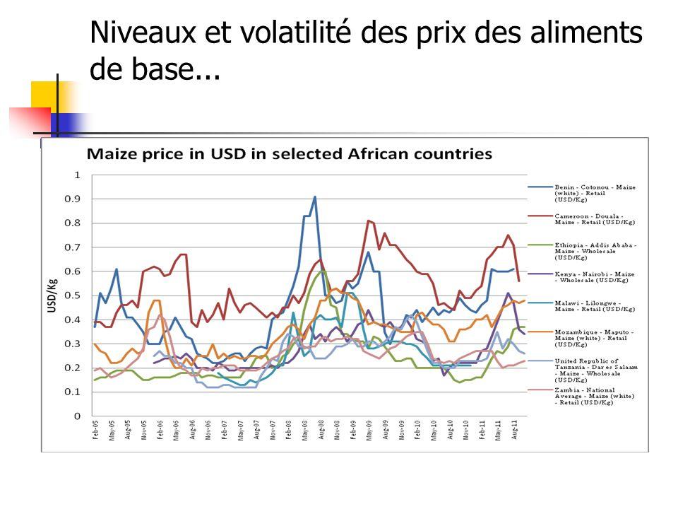 Les prix sont devenus plus volatiles La volatilité des prix est plus importante en Afrique qu en Asie ou en Amérique latine (dans les quelques pays étudiés).