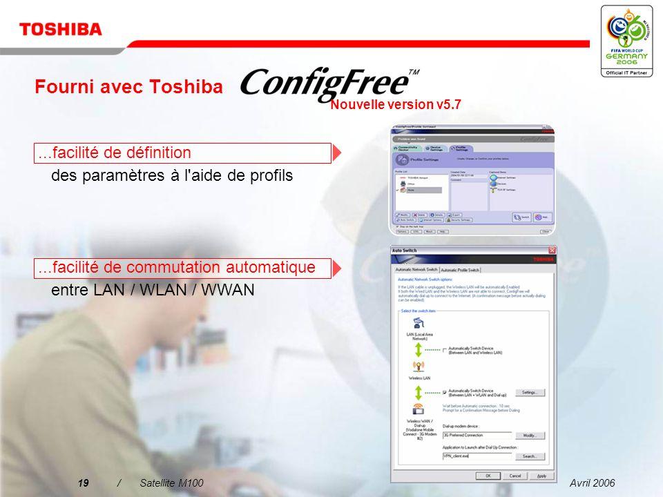 Avril 200618/Satellite M100 Fourni avec Toshiba...facilité de recherche de réseaux LAN sans fil à l aide d une interface intuitive...facilité de connexion aux réseaux avec et sans fil Nouvelle version v5.7