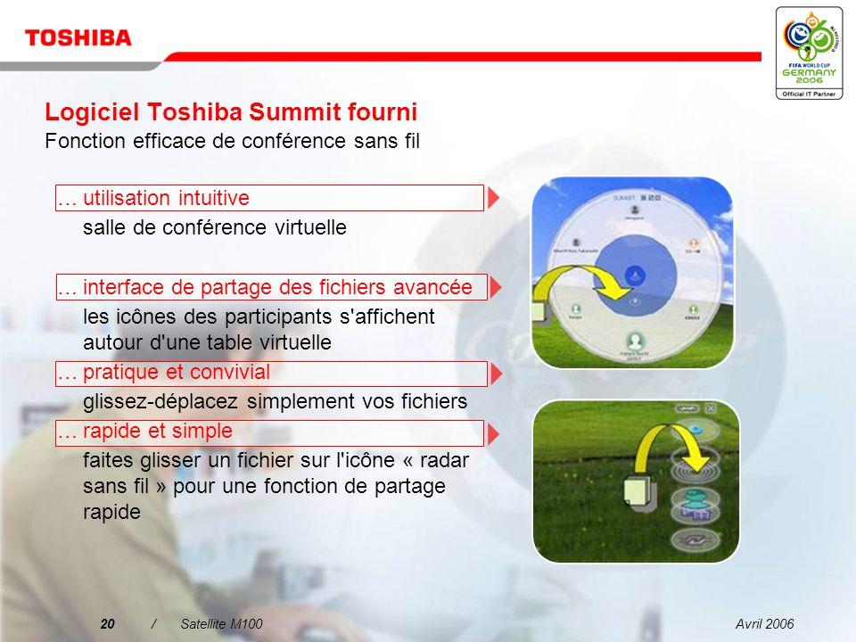 Avril 200619/Satellite M100 Fourni avec Toshiba...facilité de définition des paramètres à l aide de profils...facilité de commutation automatique entre LAN / WLAN / WWAN Nouvelle version v5.7
