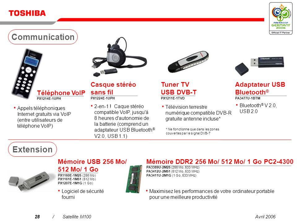 Avril 200627/Satellite M100 Mini disque dur 80 Go PX1217E-1G08 Disque dur 160/250/320 Go PX1219E-1G16 (160 Go) PX1220E-1G25 (250 Go) PX1223E-1G32 (320 Go) Disque dur externe 3,5, 7 200 tpm Disque dur externe 2,5 , 5 400 tpm Centre multimédia – Gigastore 250 Go PA3392E-1MPS Disque dur externe 3,5 avec sauvegarde PushButton, 7 200 tpm Lecteurs Lecteur DVD SuperMulti PA3454U-1DV2 USB 2.0, alimenté par bus, amorçable Unité USB FDD externe PA3109E-3FDD 3,5 , 1,44 Mo
