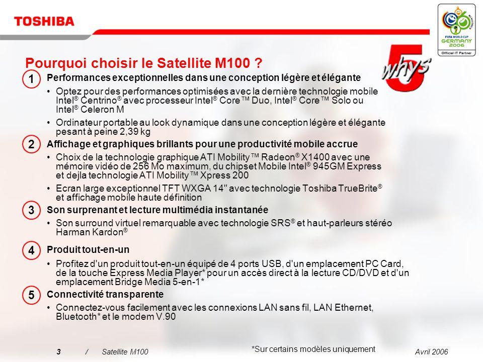 Avril 20062/Satellite M100 Positionnement Satellite M100 : Idéal pour le multimédia sur écran large en déplacement.