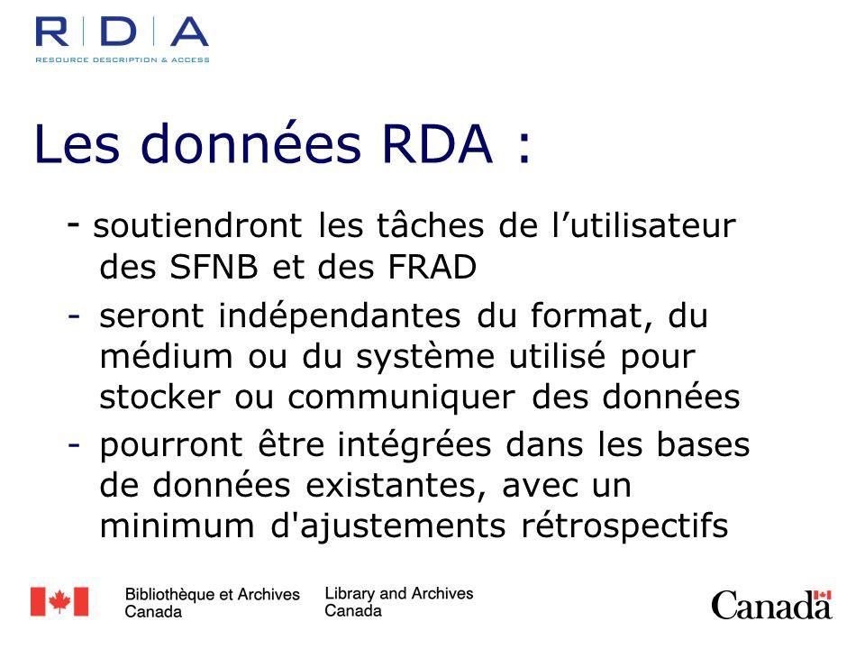 Les données RDA : - soutiendront les tâches de lutilisateur des SFNB et des FRAD -seront indépendantes du format, du médium ou du système utilisé pour stocker ou communiquer des données -pourront être intégrées dans les bases de données existantes, avec un minimum d ajustements rétrospectifs