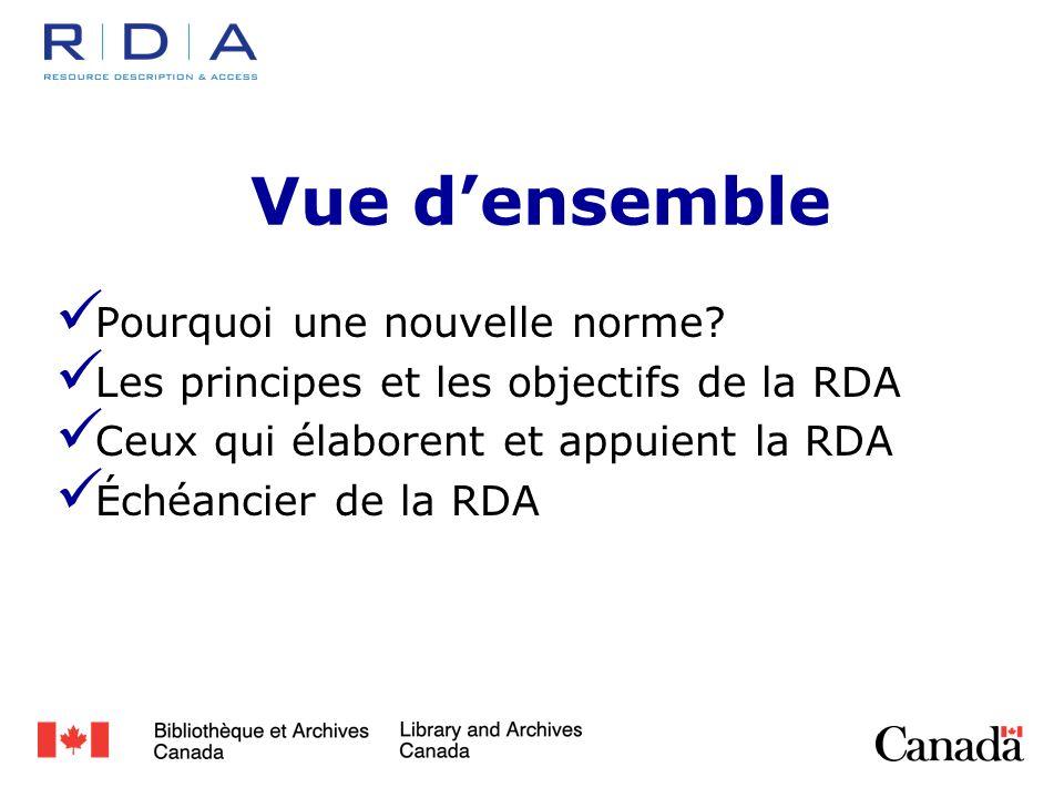 Groupe de travail sur lIMDC/RDA Établi en2007 Les éléments, les vocabulaires et les rôles de la RDA sont enregistrés http://metadataregistry.org Positionne les données RDA dans le Web sémantique