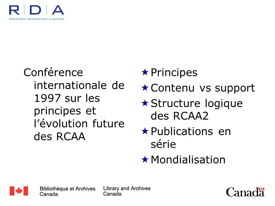 Conférence internationale de 1997 sur les principes et lévolution future des RCAA Principes Contenu vs support Structure logique des RCAA2 Publications en série Mondialisation
