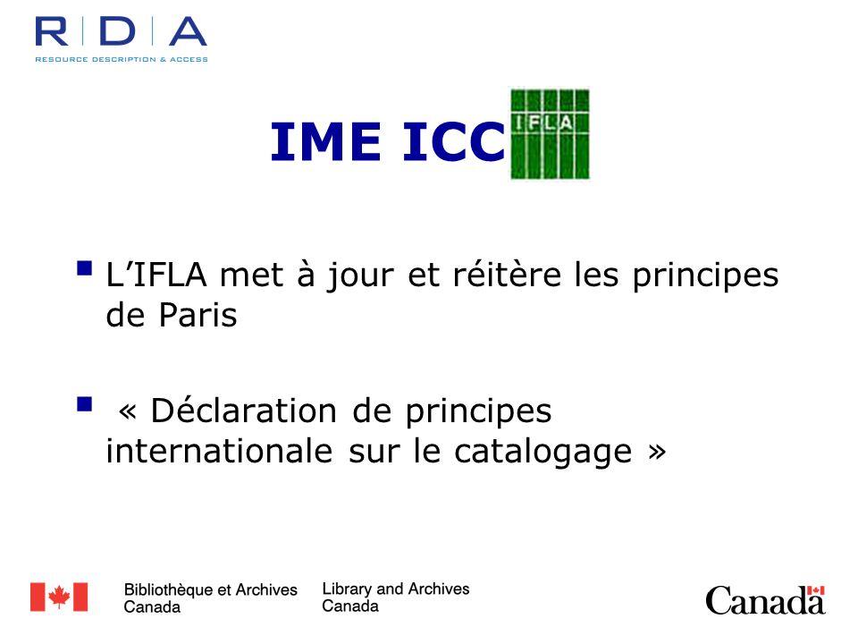IME ICC LIFLA met à jour et réitère les principes de Paris « Déclaration de principes internationale sur le catalogage »