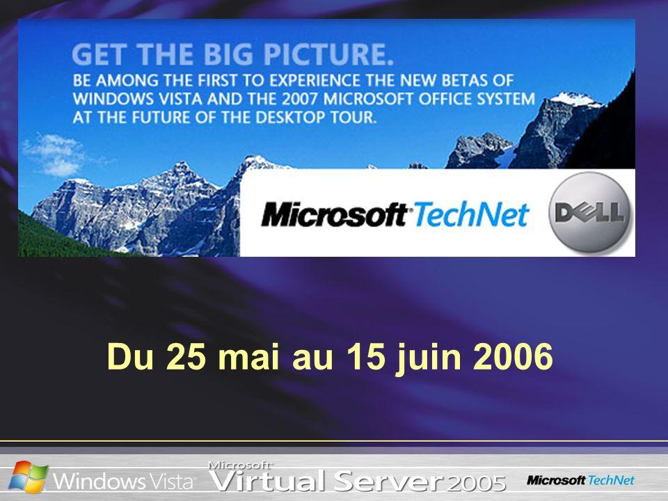 Installation de Windows Vista dans une machine virtuelle Facteurs dont il faut tenir compte –Attribuer beaucoup de RAM (plus de 512 Mo) quand cest possible –Augmenter la capacité du ou des disques durs virtuels à une capacité supérieure à celle de 16 Go définie par défaut (maintenant 127 Go dans VS 2005 R2 SP1) –Utiliser les Compléments pour ordinateurs virtuels pour la performance et le soutien du matériel Installation correcte –Utiliser un support physique ou monter lISO sur un CD virtuel Mise à jour –Tester à fond les paramètres de mise à jour et dapplication Utiliser lOutil danalyse des applications Migration côte à côte –Utiliser lAssistant Transfert de fichiers et de paramètres pour migrer les paramètres