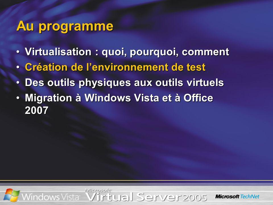 Au programme Virtualisation : quoi, pourquoi, commentVirtualisation : quoi, pourquoi, comment Création de lenvironnement de testCréation de lenvironne