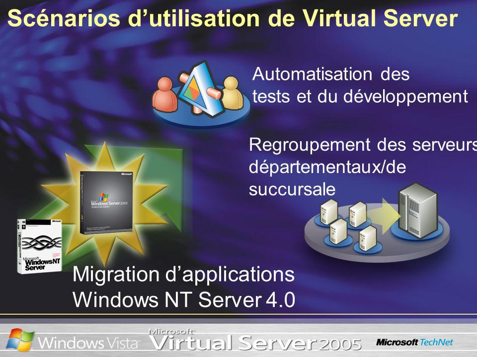 Scénarios dutilisation de Virtual Server Migration dapplications Windows NT Server 4.0 Regroupement des serveurs départementaux/de succursale Automati
