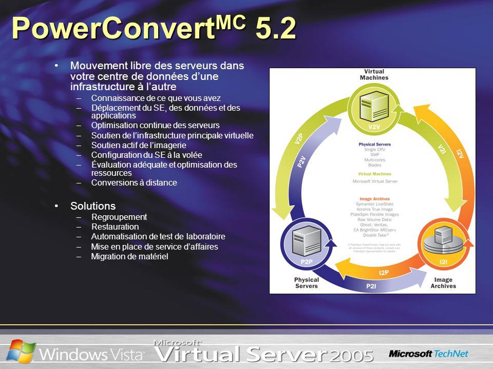PowerConvert MC 5.2 Mouvement libre des serveurs dans votre centre de données dune infrastructure à lautre –Connaissance de ce que vous avez –Déplacem