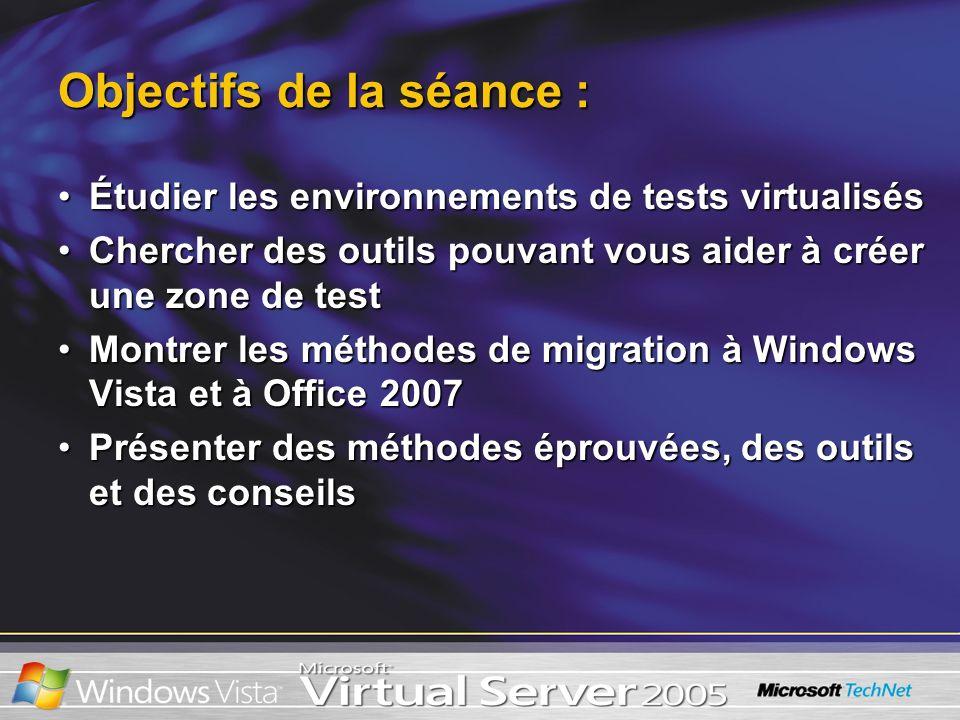 Configuration du SE invité Modèles dappareils virtuels Jeu de puces 440BX avec PIIX4 BIOS système (AMI) Bus PCI Bus ISA Gestion de lalimentation Bus SM PIC 8259 PIT Contrôleur DMA CMOS RTC Contrôleur de mémoire RAM et VRAM Ports COM (série) Ports LPT (parallèles) Contrôleurs IDE/ATAPI Cartes SCSI (Adaptec 2940) Carte vidéo SVGA (S3 Trio64) BIOS VESA Accélérateur graphique 2D Curseur matériel Carte Ethernet (DEC 21140) x 4 Clavier Souris Modèles dappareils virtuels Jeu de puces 440BX avec PIIX4 BIOS système (AMI) Bus PCI Bus ISA Gestion de lalimentation Bus SM PIC 8259 PIT Contrôleur DMA CMOS RTC Contrôleur de mémoire RAM et VRAM Ports COM (série) Ports LPT (parallèles) Contrôleurs IDE/ATAPI Cartes SCSI (Adaptec 2940) Carte vidéo SVGA (S3 Trio64) BIOS VESA Accélérateur graphique 2D Curseur matériel Carte Ethernet (DEC 21140) x 4 Clavier Souris Virtual Server virtualise : –lUC –la gestion de la mémoire –le matériel synthétique Virtual Server émule : –Les accès aux dispositifs sont capturés et émulés dans des logiciels à laide de modèles de dispositifs virtuels.
