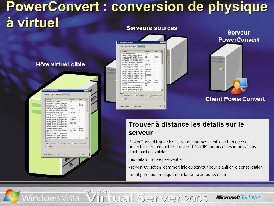 Trouver à distance les détails sur le serveur PowerConvert trouve les serveurs sources et cibles et en dresse linventaire en utilisant le nom de lhôte