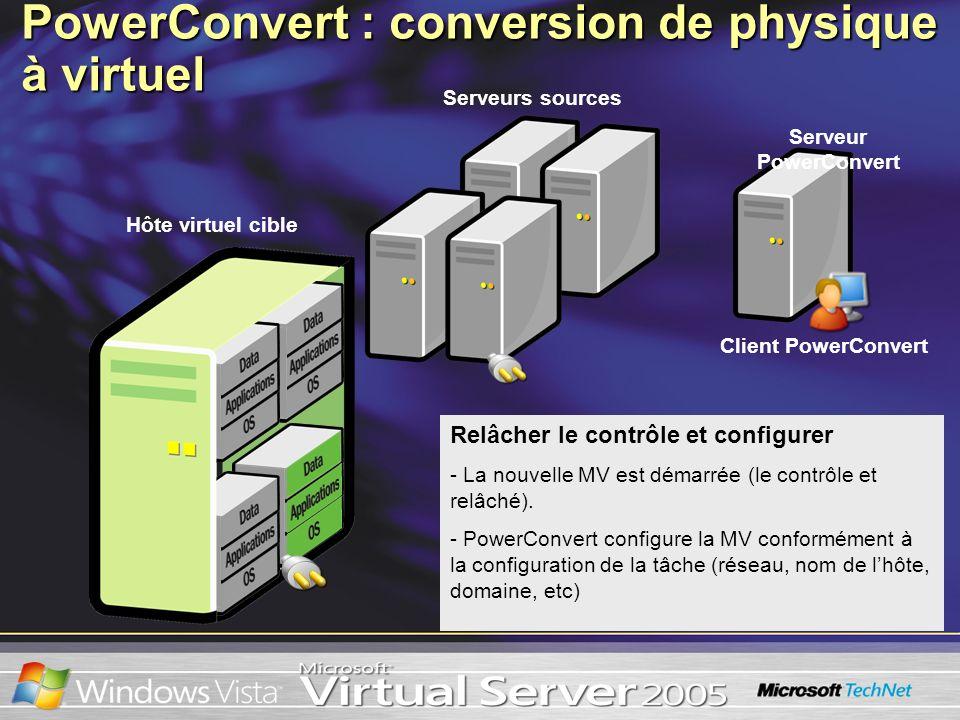 Relâcher le contrôle et configurer - La nouvelle MV est démarrée (le contrôle et relâché). - PowerConvert configure la MV conformément à la configurat