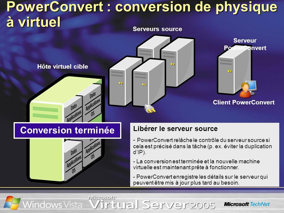 Libérer le serveur source - PowerConvert relâche le contrôle du serveur source si cela est précisé dans la tâche (p. ex. éviter la duplication dIP). -