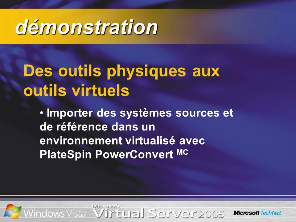démonstration démonstration Des outils physiques aux outils virtuels Importer des systèmes sources et de référence dans un environnement virtualisé av